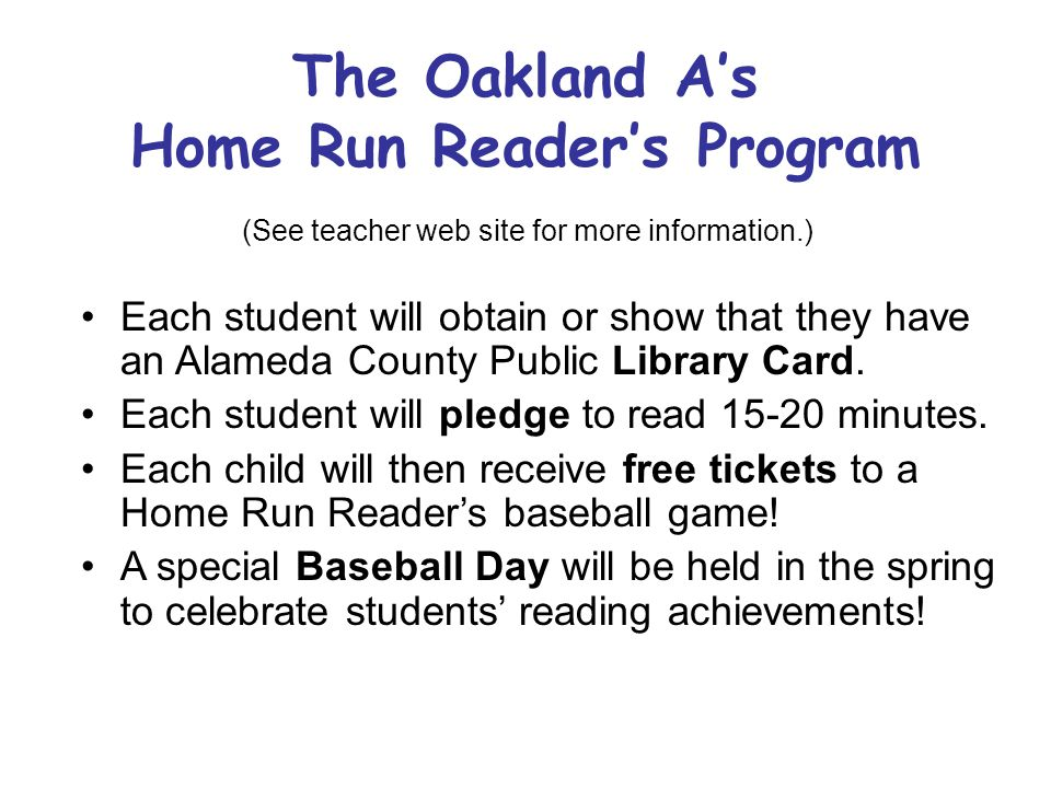 The Oakland A's Home Run Reader's Program