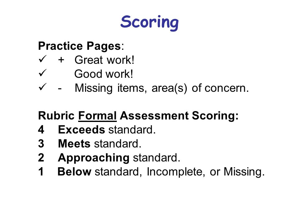 Scoring Practice Pages: + Great work! Good work!