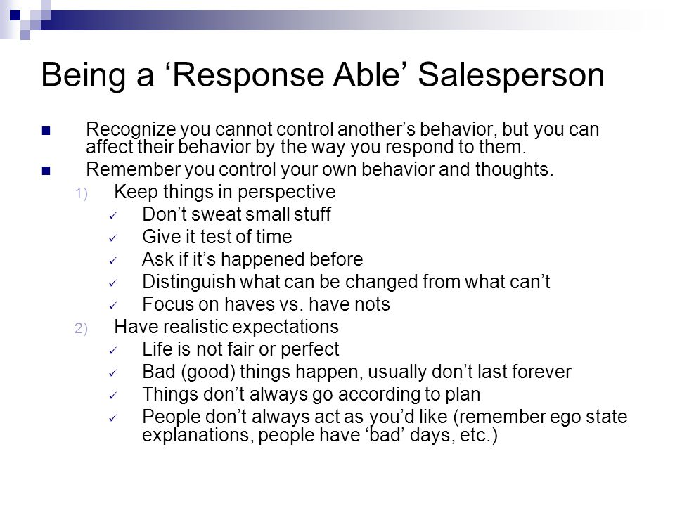 Being a 'Response Able' Salesperson