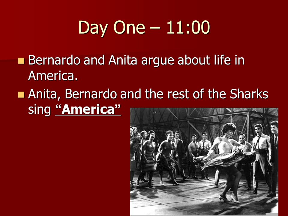 Day One – 11:00 Bernardo and Anita argue about life in America.