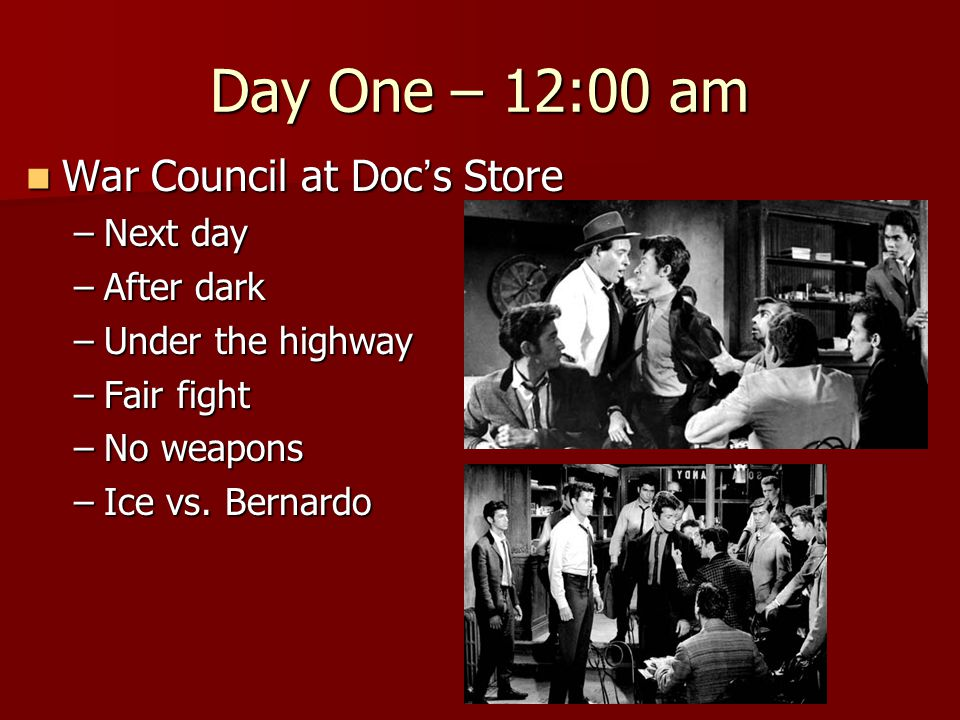 Day One – 12:00 am War Council at Doc's Store Next day After dark