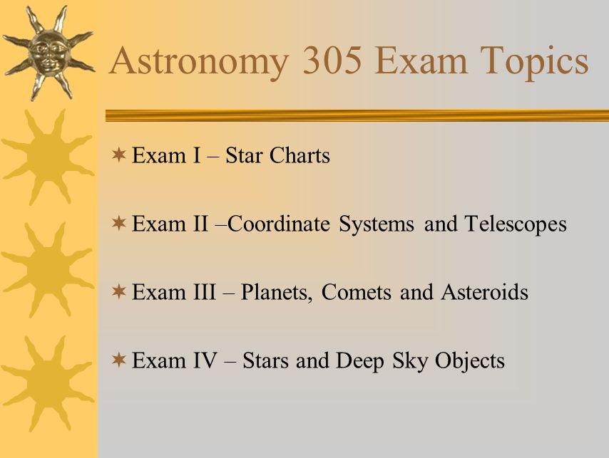 Astronomy 305 Exam Topics Exam I – Star Charts