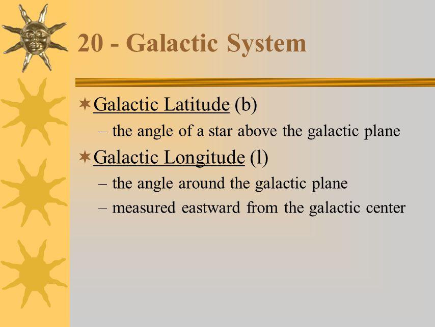 20 - Galactic System Galactic Latitude (b) Galactic Longitude (l)