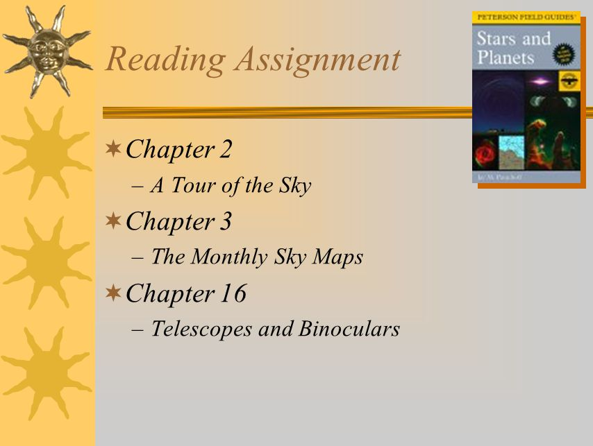 Reading Assignment Chapter 2 Chapter 3 Chapter 16 A Tour of the Sky