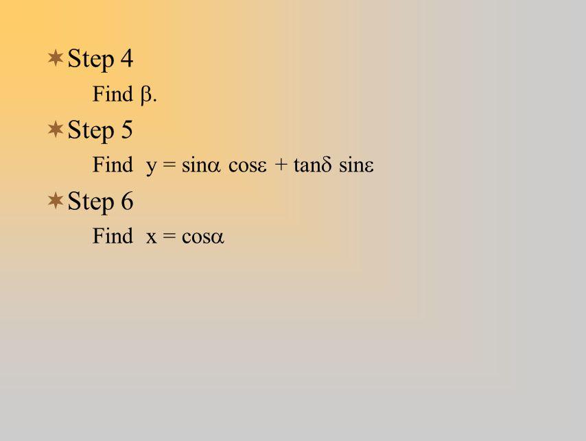 Step 4 Step 5 Step 6 Find b. Find y = sina cose + tand sine