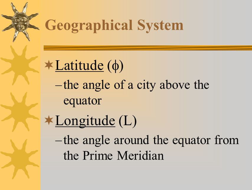 Geographical System Latitude (f) Longitude (L)