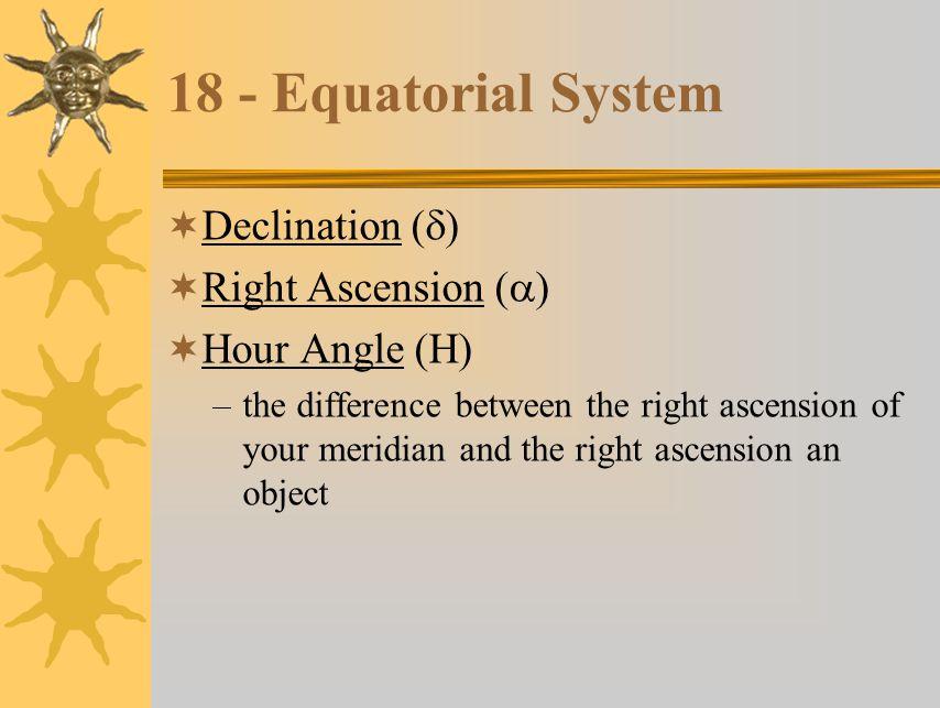 18 - Equatorial System Declination (d) Right Ascension (a)