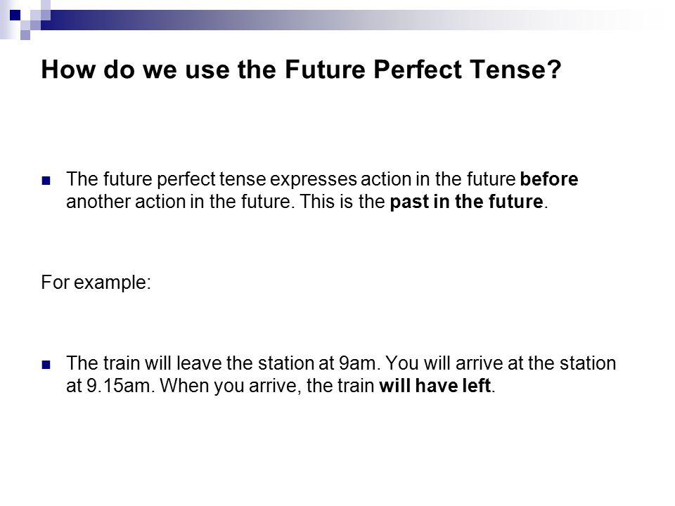 How do we use the Future Perfect Tense