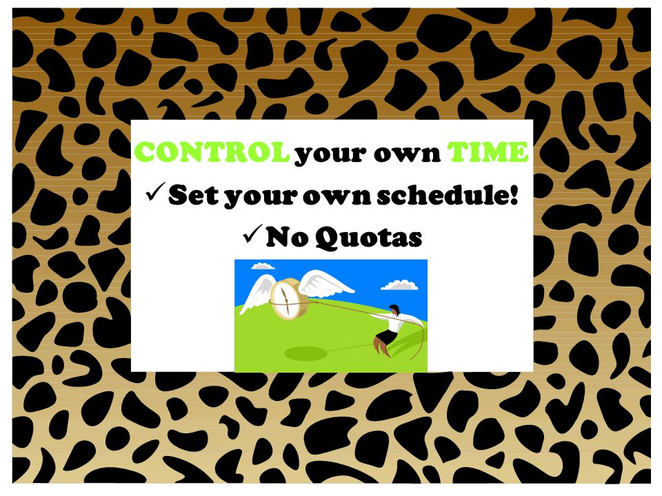 CONTROL your own TIME Set your own schedule! No Quotas