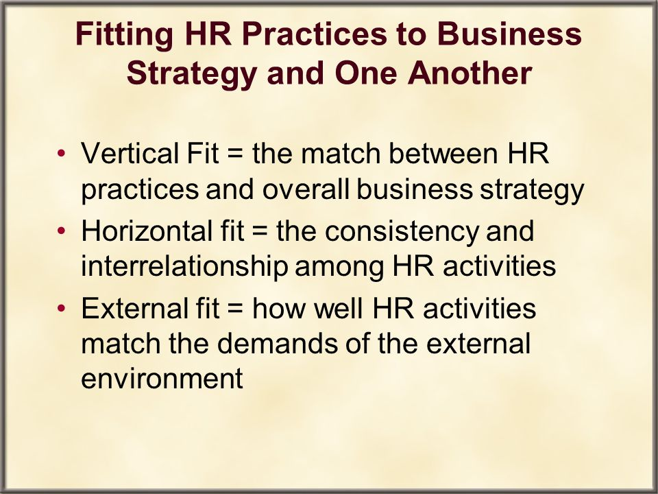 Fitting HR Practices to Business Strategy and One Another