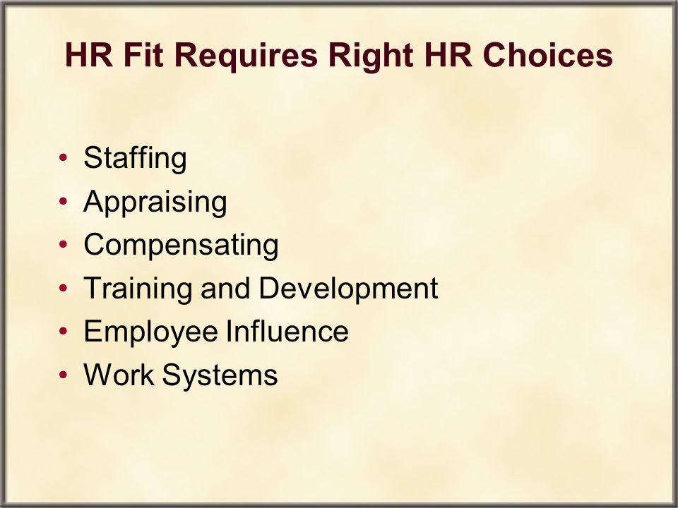 HR Fit Requires Right HR Choices