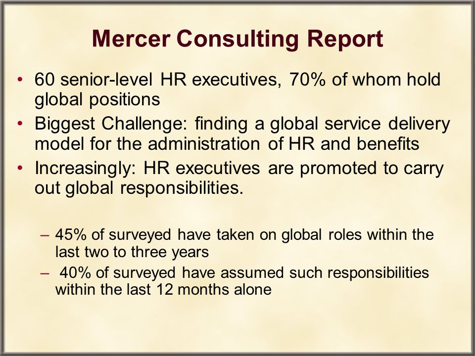 Mercer Consulting Report