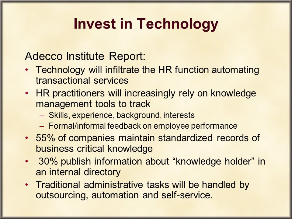 Invest in Technology Adecco Institute Report: