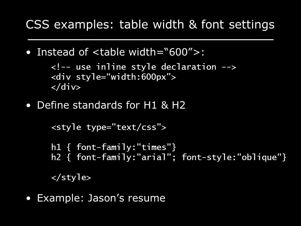CSS examples: table width & font settings