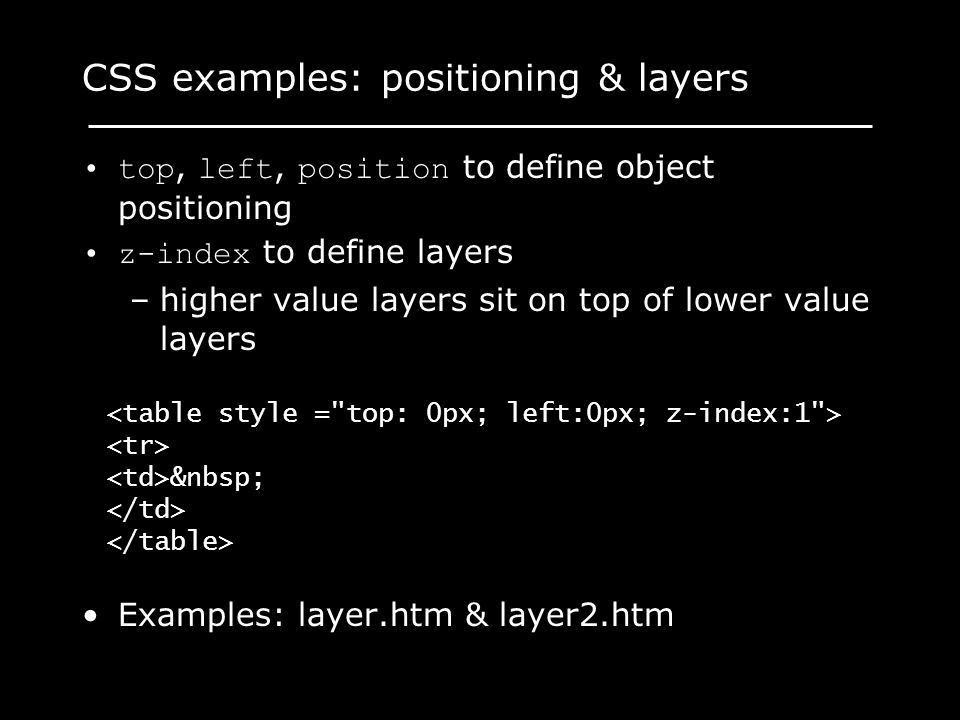 CSS examples: positioning & layers