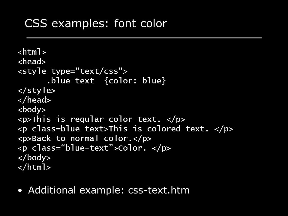 CSS examples: font color