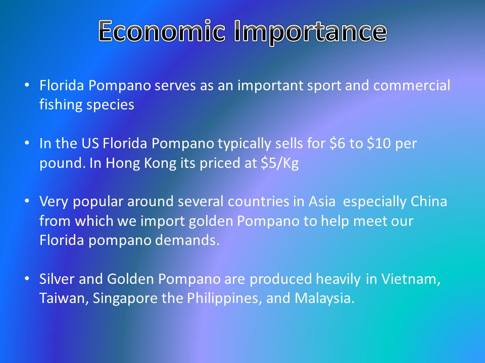 Economic Importance Florida Pompano serves as an important sport and commercial fishing species.