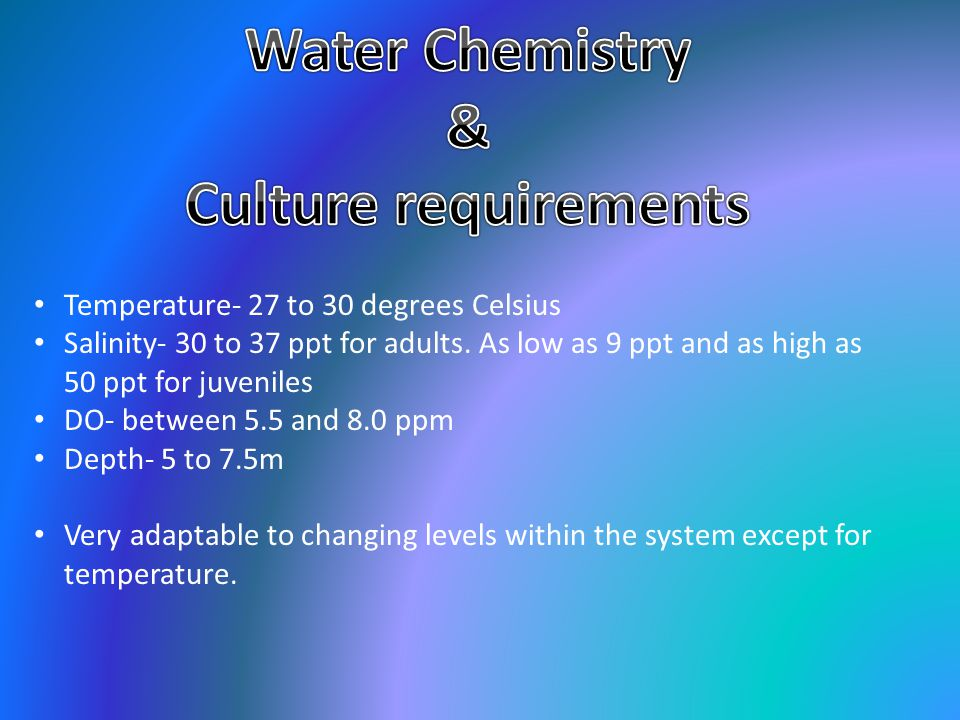 Water Chemistry & Culture requirements