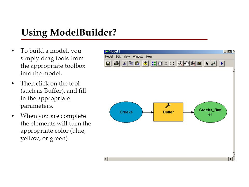Using ModelBuilder To build a model, you simply drag tools from the appropriate toolbox into the model.