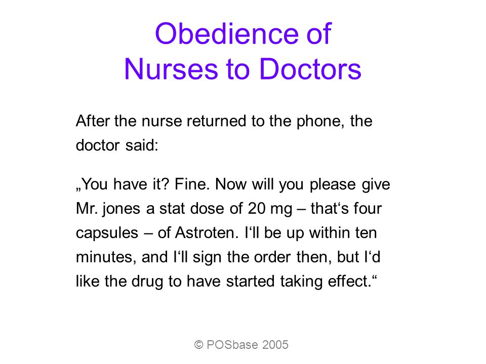 Obedience of Nurses to Doctors