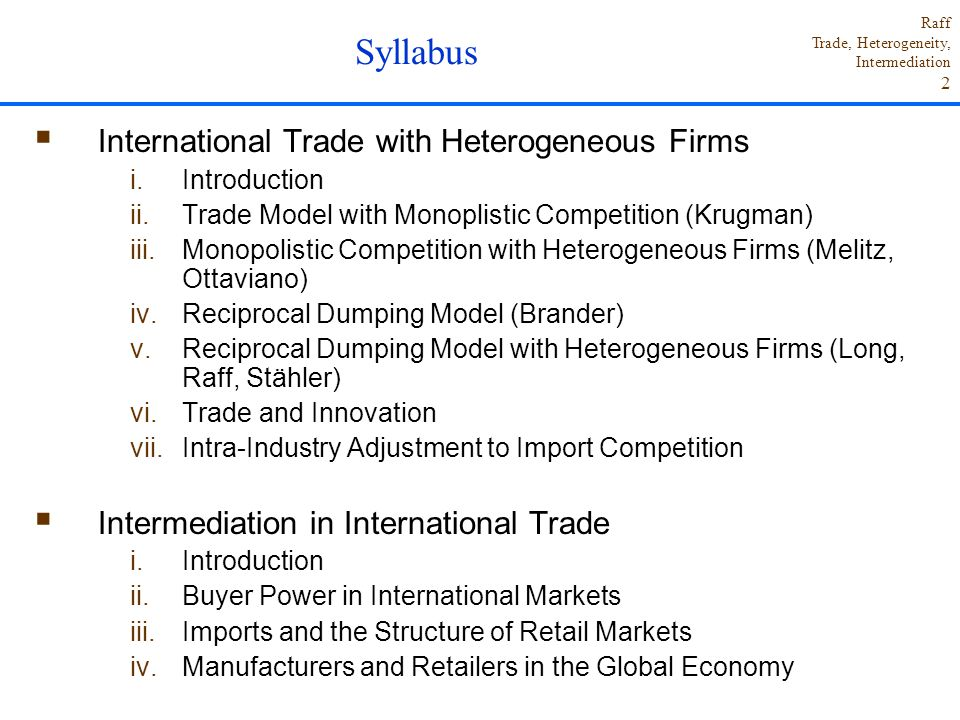 Syllabus International Trade with Heterogeneous Firms