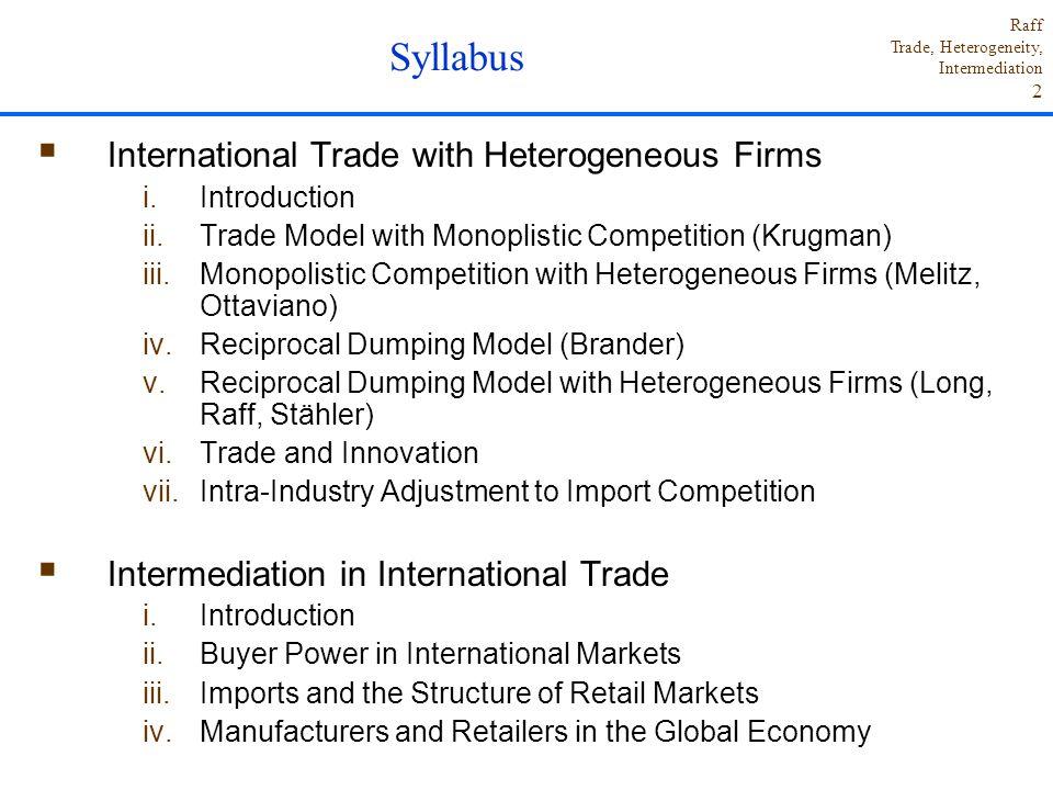 Syllabus International Trade with Heterogeneous Firms
