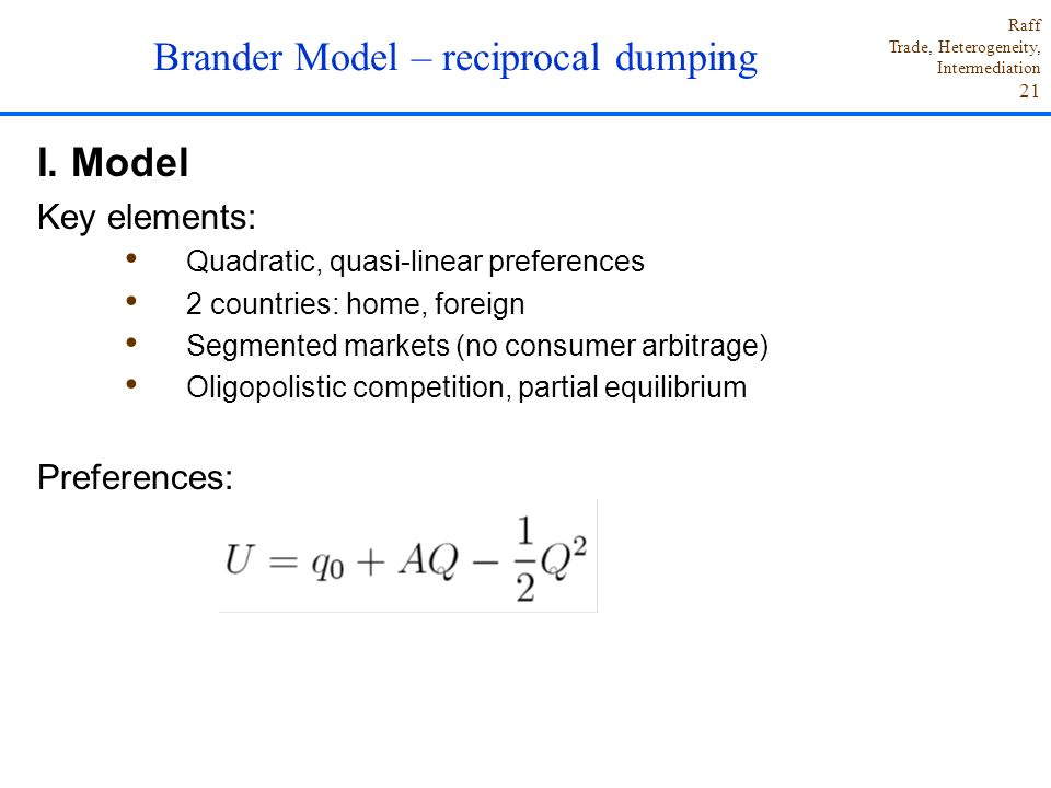 Brander Model – reciprocal dumping