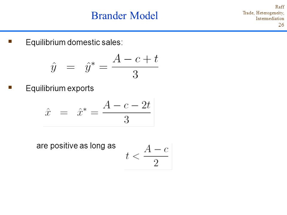 Brander Model Equilibrium domestic sales: Equilibrium exports