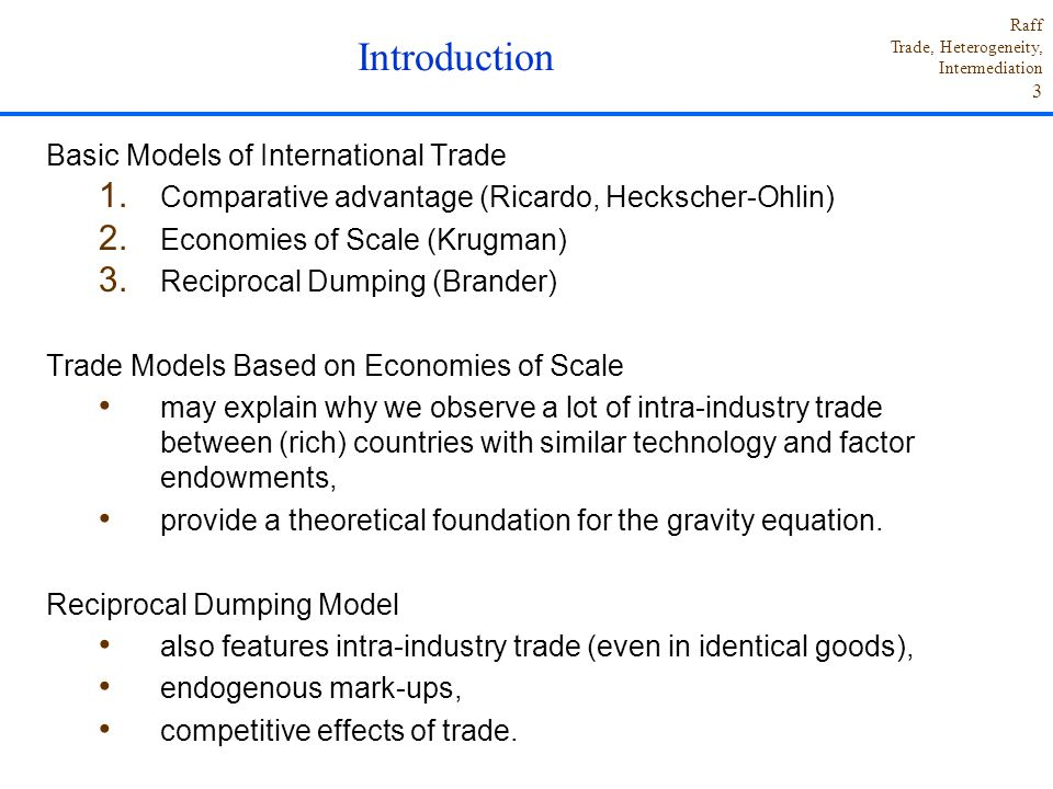 Introduction Basic Models of International Trade