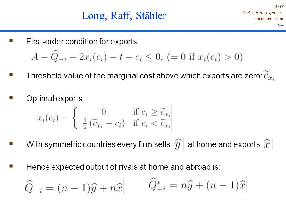 Long, Raff, Stähler First-order condition for exports: