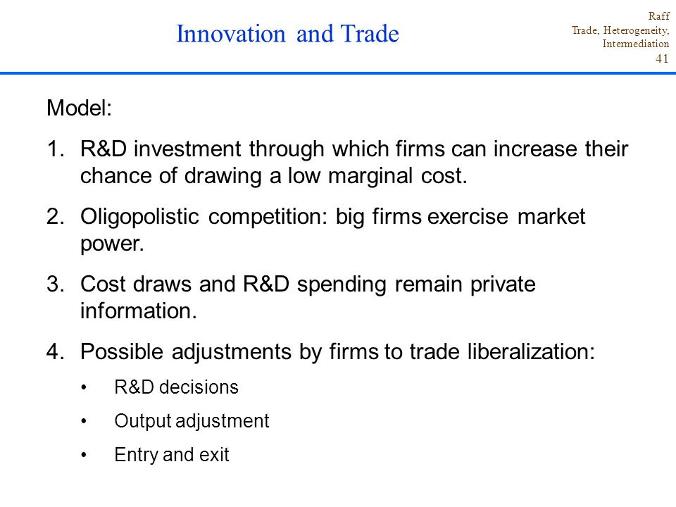 Innovation and Trade Model: