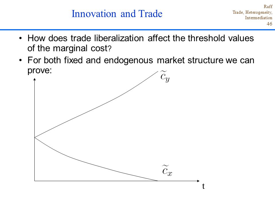 Innovation and Trade How does trade liberalization affect the threshold values of the marginal cost