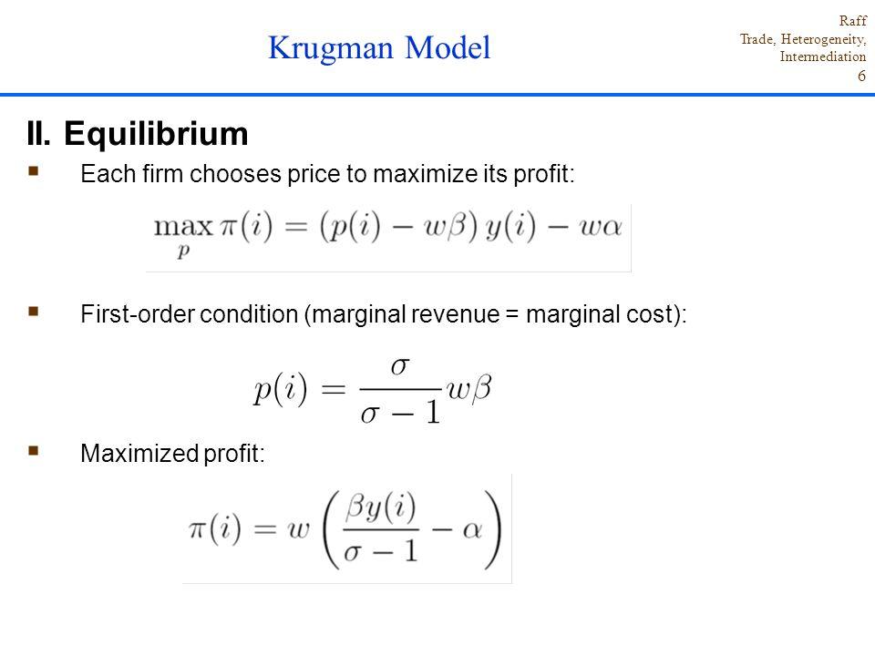 Krugman Model II. Equilibrium