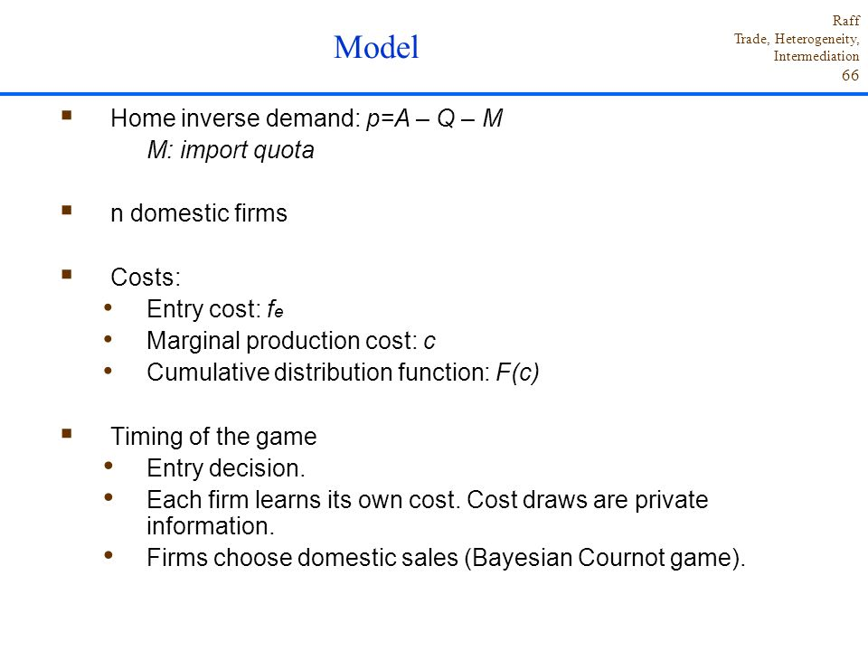 Model Home inverse demand: p=A – Q – M M: import quota
