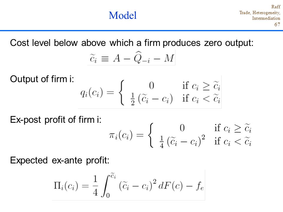 Model Cost level below above which a firm produces zero output: