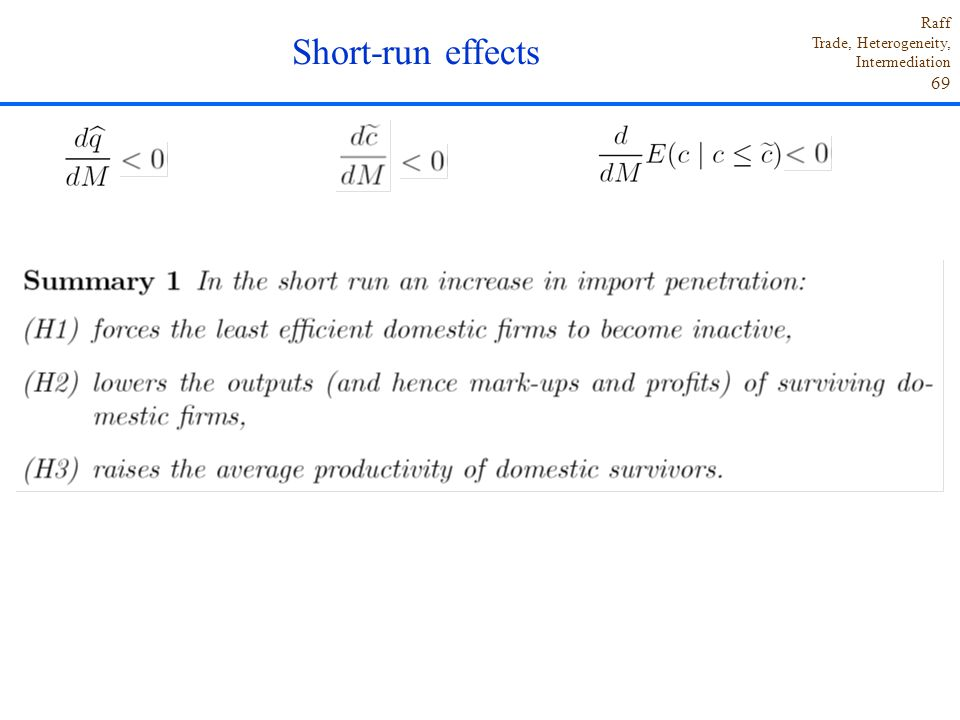 Short-run effects
