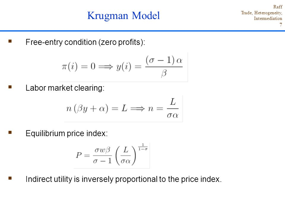 Krugman Model Free-entry condition (zero profits):