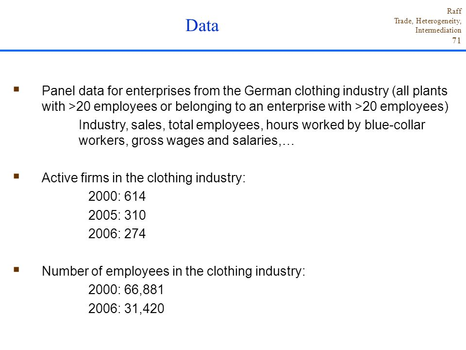 Data Panel data for enterprises from the German clothing industry (all plants with >20 employees or belonging to an enterprise with >20 employees)