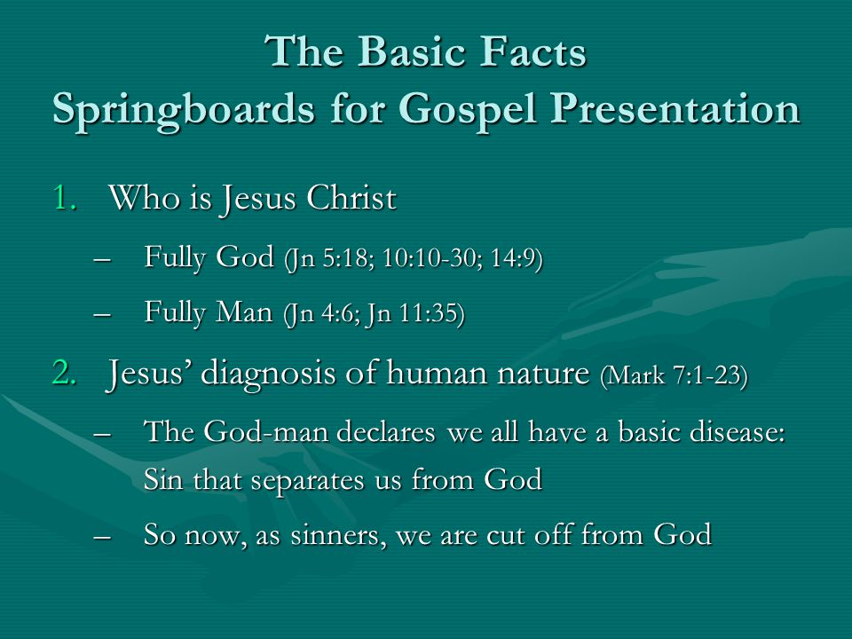 The Basic Facts Springboards for Gospel Presentation