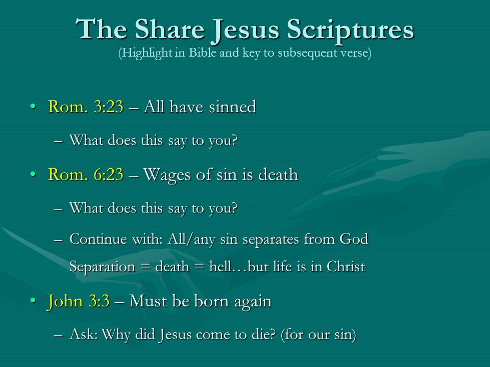 The Share Jesus Scriptures (Highlight in Bible and key to subsequent verse)