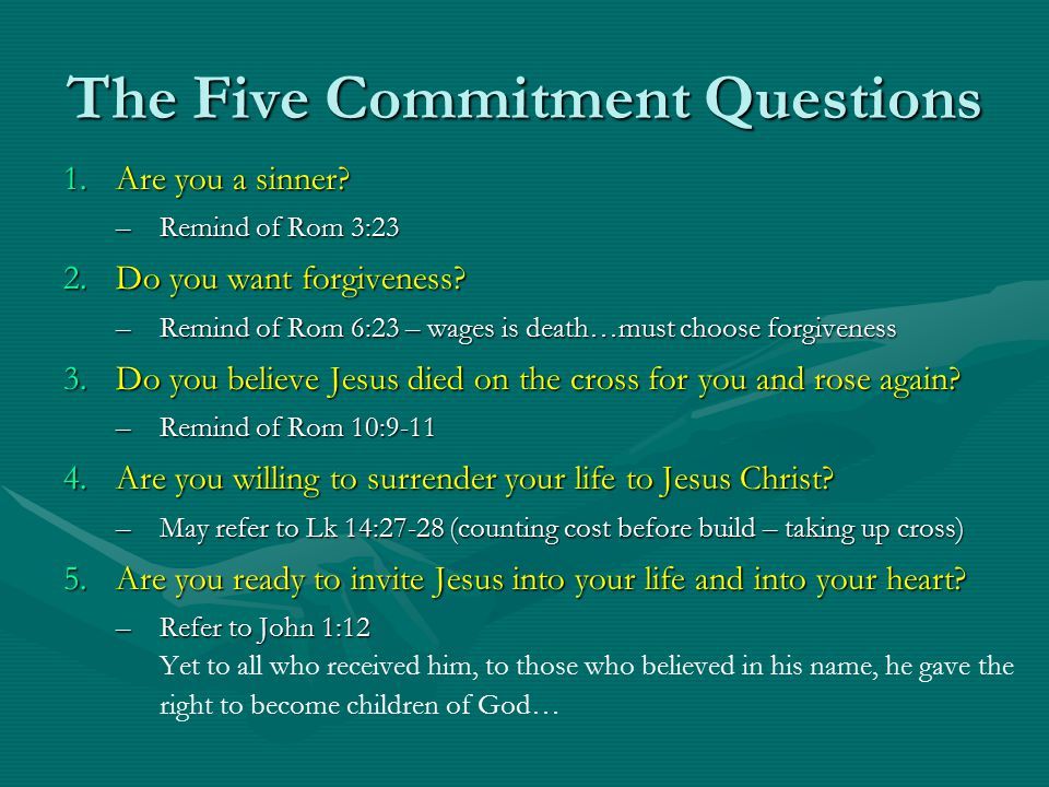 The Five Commitment Questions