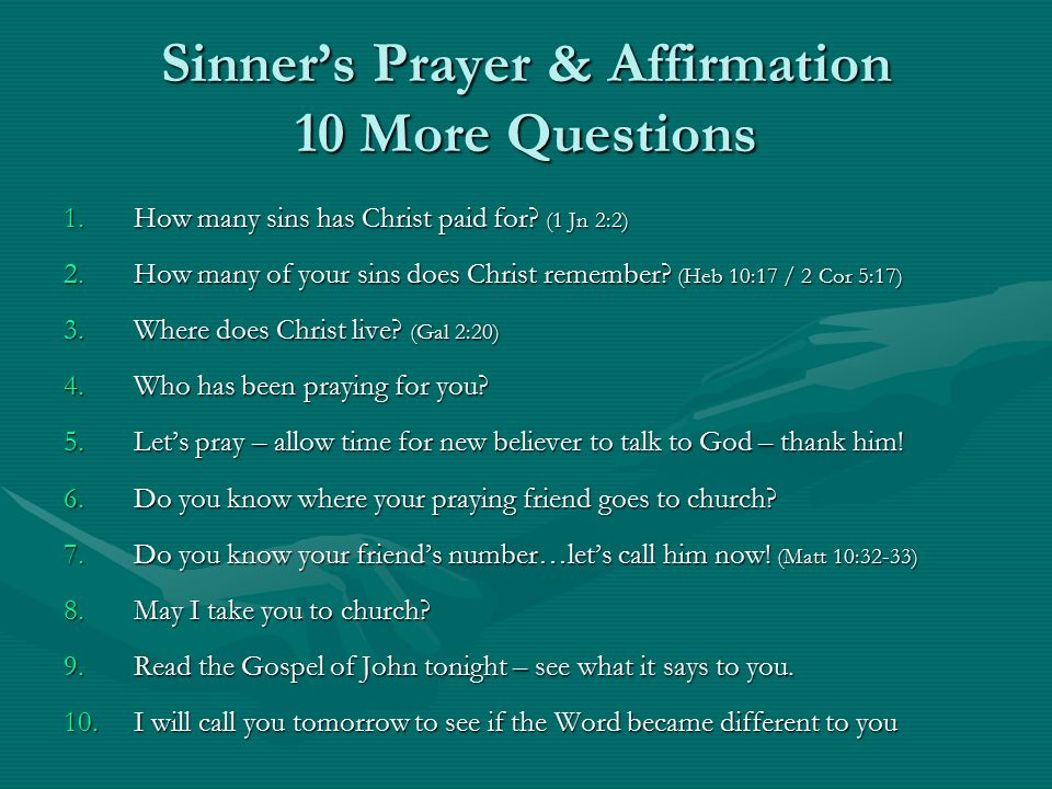 Sinner's Prayer & Affirmation 10 More Questions