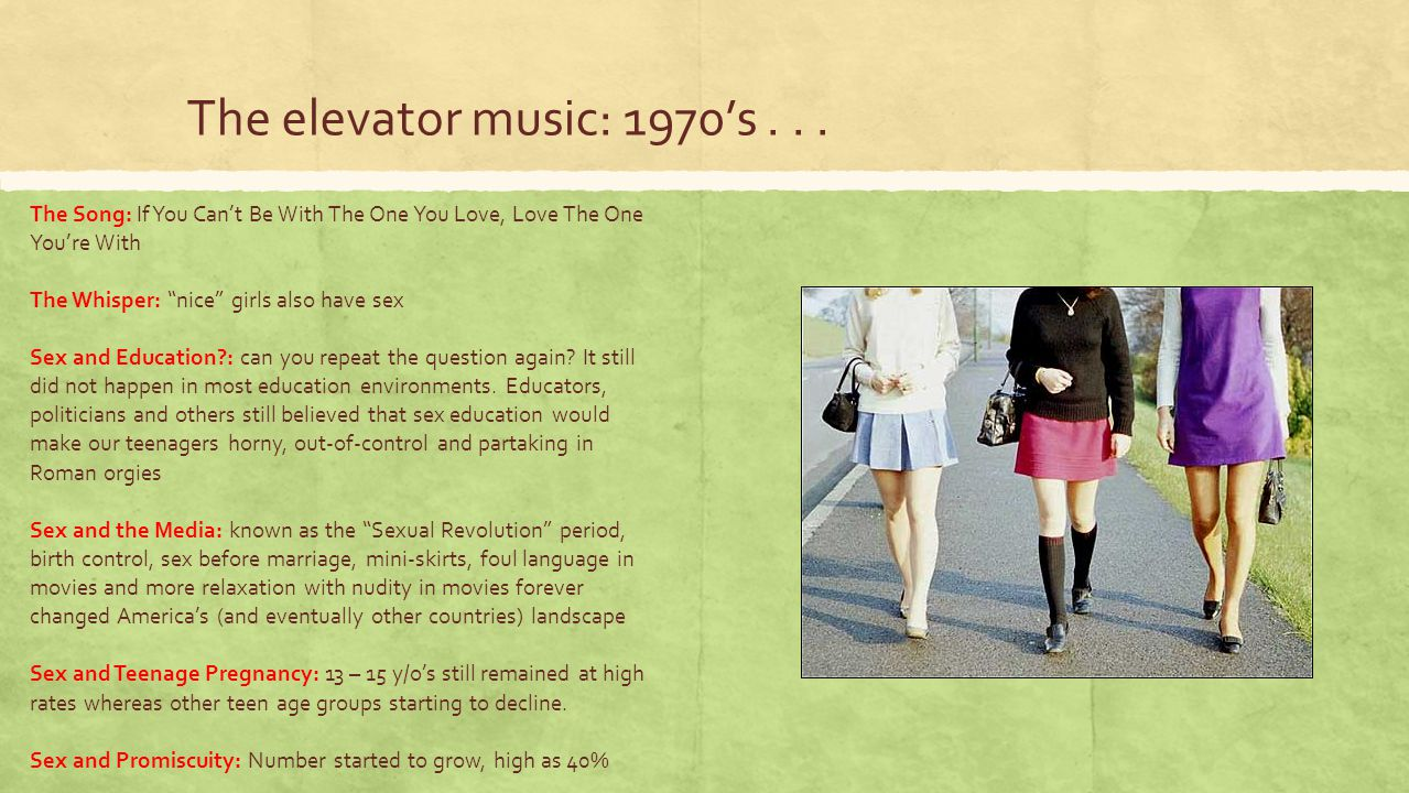 The elevator music: 1970's . . . The Song: If You Can't Be With The One You Love, Love The One You're With.