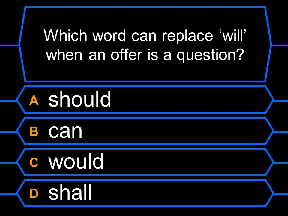 Which word can replace 'will' when an offer is a question