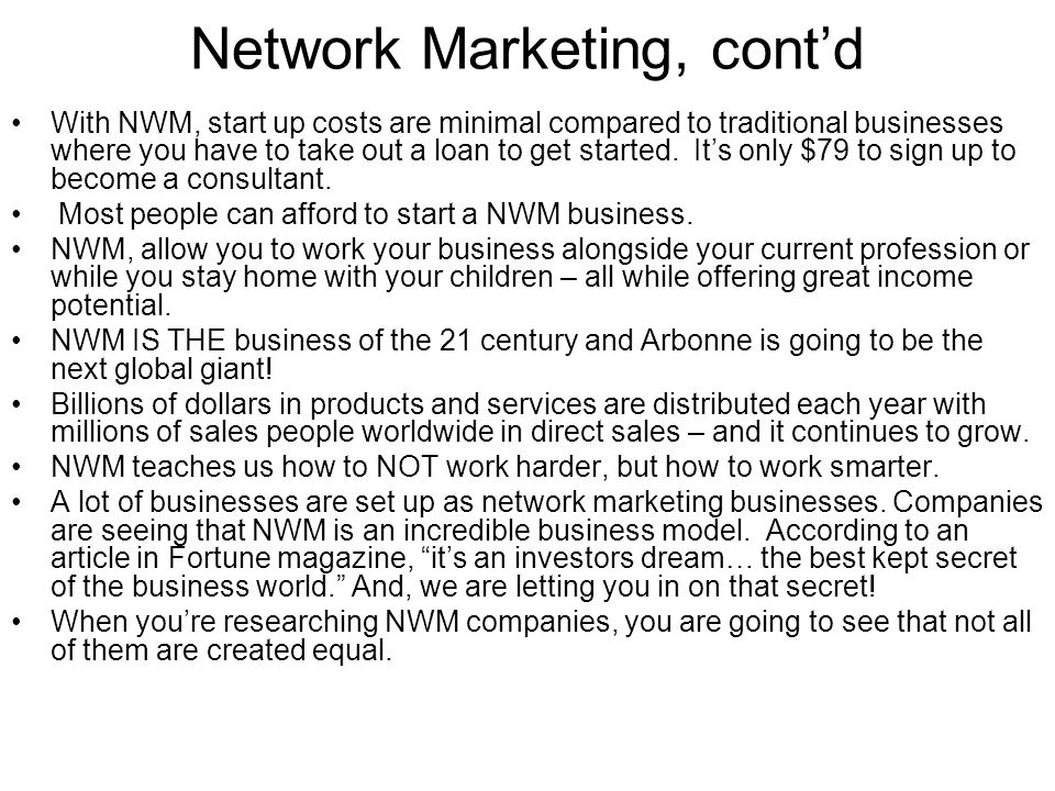 Network Marketing, cont'd