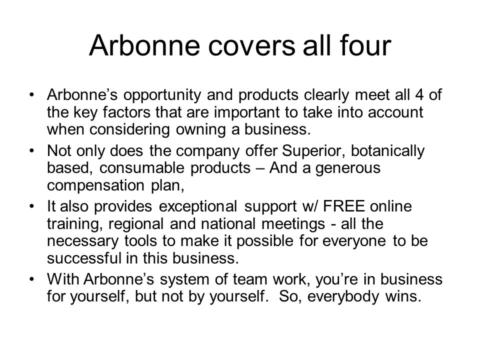 Arbonne covers all four