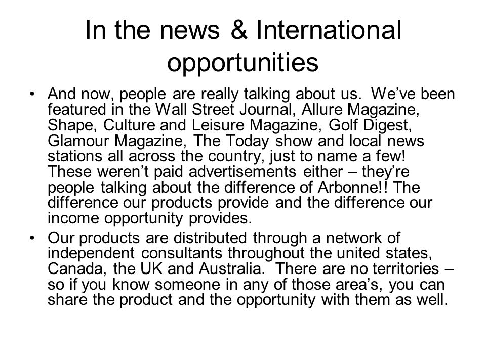 In the news & International opportunities