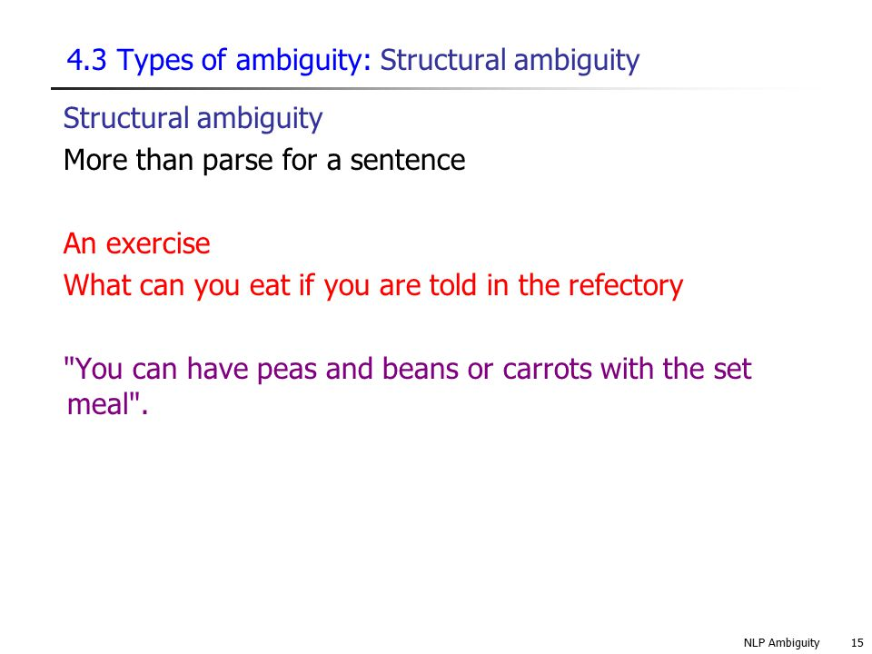 4.3 Types of ambiguity: Structural ambiguity