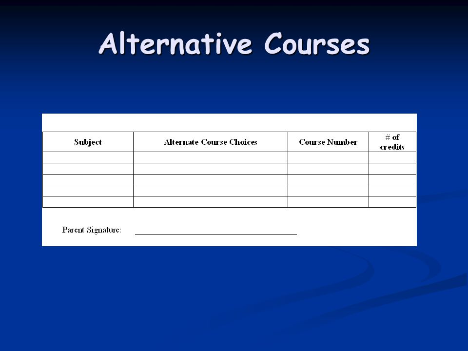 Alternative Courses