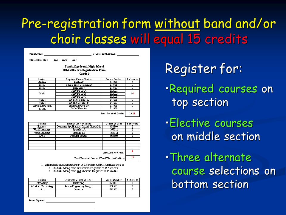 Pre-registration form without band and/or choir classes will equal 15 credits
